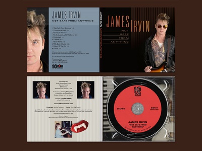 80's style CD package design for James Irvin typography design