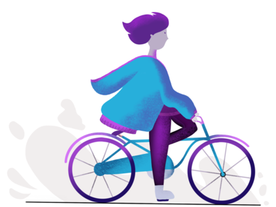 Simple Illustration - girl on the bike