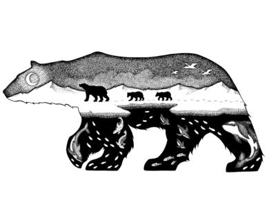 Symbiosis childrens book childrens illustration black and white environmental polar bear animal illustration animal logo animal art pen and ink textile apparel logo apparel drawing design illustrator illustration