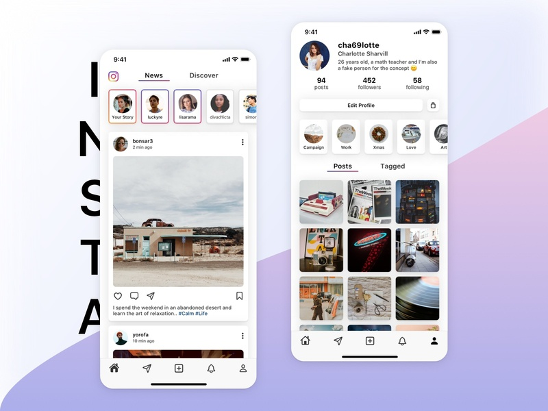 Instagram App social media social app social phone ios social network video-sharing social networking ux ui insta card instagram redesign instagram post instagram stories photos videos photo instagram