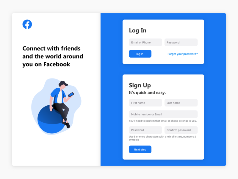 Facebook Login Screen sign up ui sign up screen sign up page sign up form sign up signup sign in ui sign in screen sign in page sign in form sign in login screen log in screen login page login design log in login fb facebook redesign