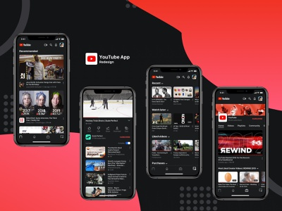 YouTube App Redesign Concept app ux ui design video network video video network app video app concept video network concept youtube concept youtube redesign youtube app youtube