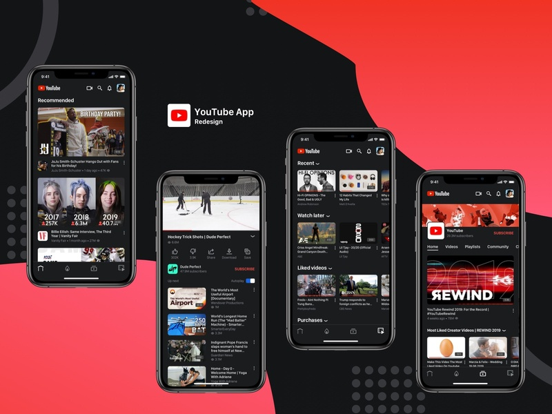 YouTube App Redesign Concept app ux ui design video network video video network app video app concept video network concept youtube concept youtube redesign youtube app youtube
