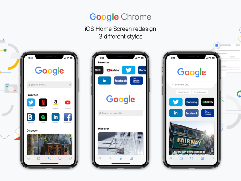 iOS Home Screen redesign (3 different styles) google chrome search engine search mozila uc chromium internet explorer microsoft edge aloha duckduckgo firefox opera yandex browser yandex web browser google chrome ux ui app