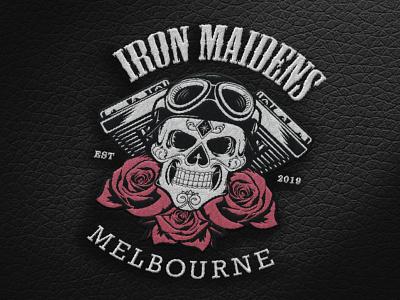 Iron Maidens MC Patch Logo vector art club motorcycle vector logo