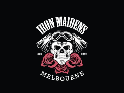 Iron Maidens MC Simplified Patch Logo brand identity club motorcycle logo vector