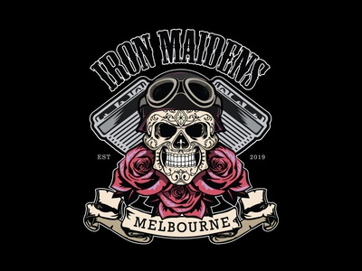 Iron Maidens MC Full Colour logo vector club motorcycle brand design