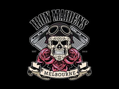 Iron Maidens MC Full Colour logo vector club motorcycle brand design