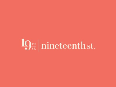 Nineteenth St streetwear number 19 designer australia typogaphy logo logotype branding clothing brand