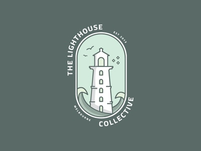 The Lighthouse Collective collaboration art badge logo coastal icon logo illustraion vector art symbol lighthouse logo
