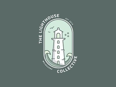 The Lighthouse Collective collaboration art badge logo coastal icon logo illustraion vector art symbol lighthouse logo