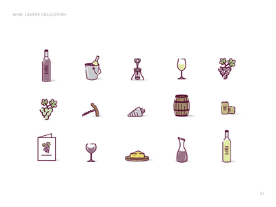 Wine lovers icon collection