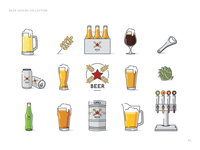 Beer lovers icon collection