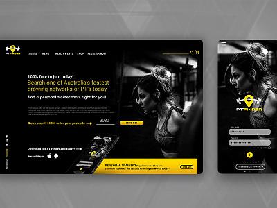 PT Finder Landing and App brand design excercise lifestyle finder local australia ui  ux landing page design app design application health fitness app personal training