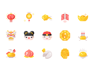 Xin Jia Yu, Xin Xin, Huat Chai minimal ui shot flat design graphic illustration icon vector icons
