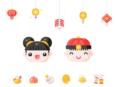Chinese New Year 2019 shot flat ui minimal design graphic illustration icon vector icons