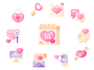 Happy Valentine's Day flat shot minimal ui design illustration graphic icon vector icons