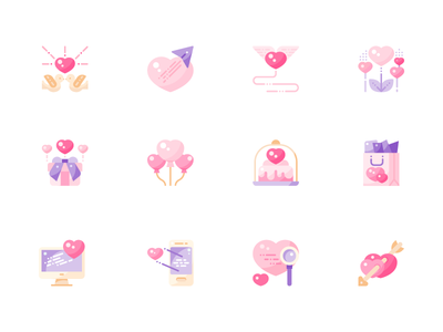 Valentine Icons Pack flat shot ui design illustration graphic icon vector icons