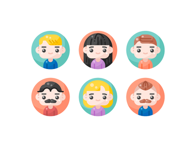 Avatars minimal flat ui design graphic illustration vector icon icons