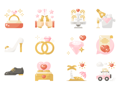Wedding flat ui design illustration graphic icon vector icons