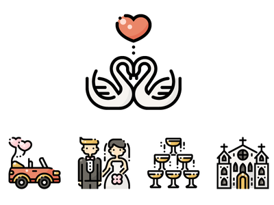 Wedding Day flat minimal ui design illustration graphic icon vector icons