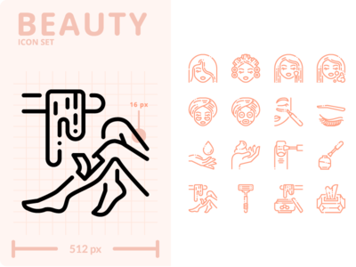 Beauty Icon Set outline minimal flat ui illustration graphic icon vector icons