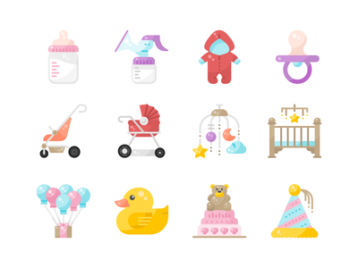 Baby Shower Icon Pack minimal flat ui design illustration graphic icon vector icons