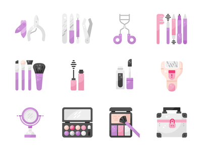 Beauty Tools Icon Set beauty minimal flat ui design illustration graphic icon vector icons
