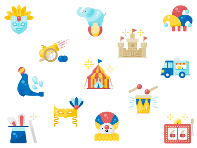 Carnival Icons amusement park carnival minimal flat ui design illustration graphic icon vector icons