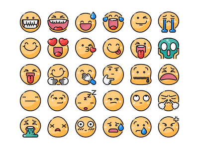 Smileys Icon Set emoticon emoji smiley face minimal outline flat ui design illustration graphic icon vector icons