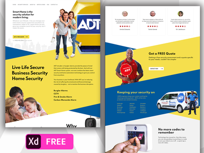 Free Security Solution Website Template Pantone 2021 Color madewithadobexd pantone 13-0647 pantone 2021 pantone freebies freebie xd website