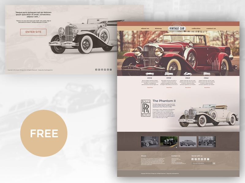 Free Vintage Car Template By Creativegeek Dribbble Dribbble
