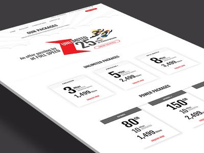 Package Page interface home page isp internet package ui ux