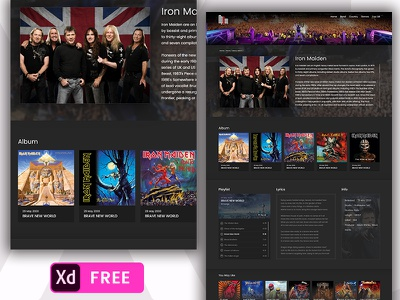 Free Music Website Template iron maiden xd. music web template freebies free music madewithadobexd