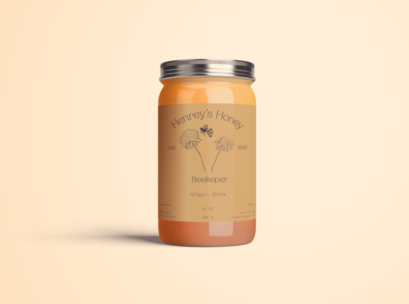 Henrey's Honey package jar can bottle package mockup minimalist logo colorful typography design branding food and drink classic minimal typogaphy illustration honey package design packagedesign packaging food