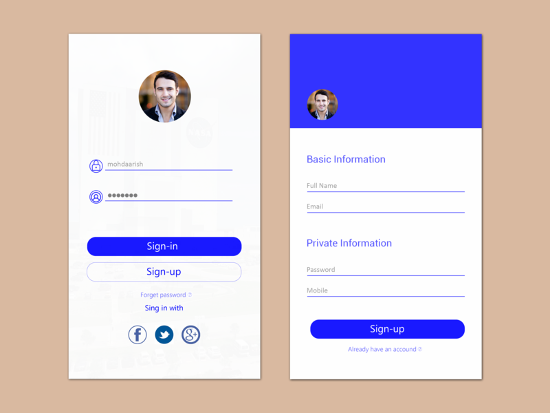 Sign-in & Sign-up welcome screen interface create email profile create account sign in login layout app clean ios ux ui