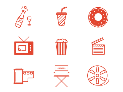 Movie / Cinema Line Icons icons film popcorn cinema movie