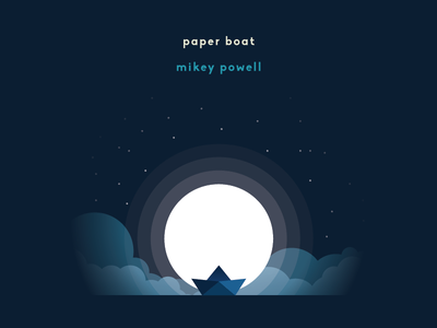 Paper Boat flat design nightsky ep album artwork illustration paper boat boat