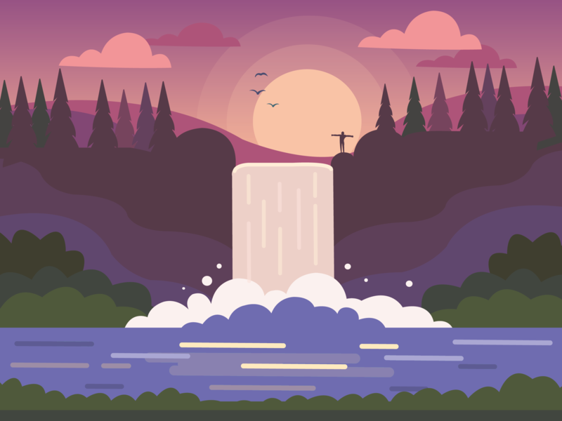 Productive Morning Hike welcome motivational monday cliff canada travelling forest splash pink travel hike water vector graphicdesign calm aesthetic morning motivation inspiration waterfall illustration