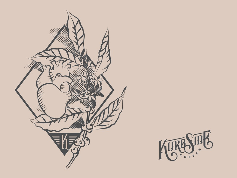 Kurbside Coffee art identity minimal clean illustrator lettering icon type vector logo typography illustration design branding