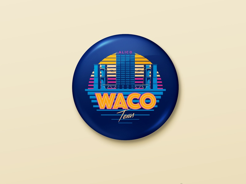 Retro Waco pin app web mobile graphic design art brand character minimal identity clean lettering illustrator icon vector logo typography illustration design branding