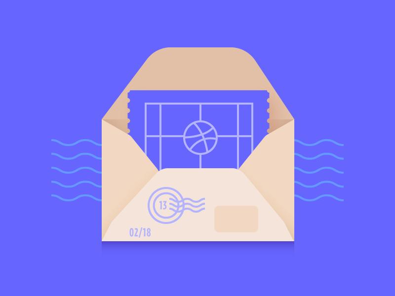 2x Dribbble Invites ticket envelope invite dribbble design artwork digital illustration