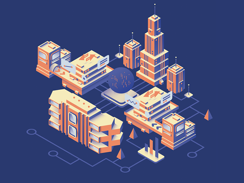 Cryptocity city bitcoin cryptocurrency crypto isometric design 3d artwork digital illustration