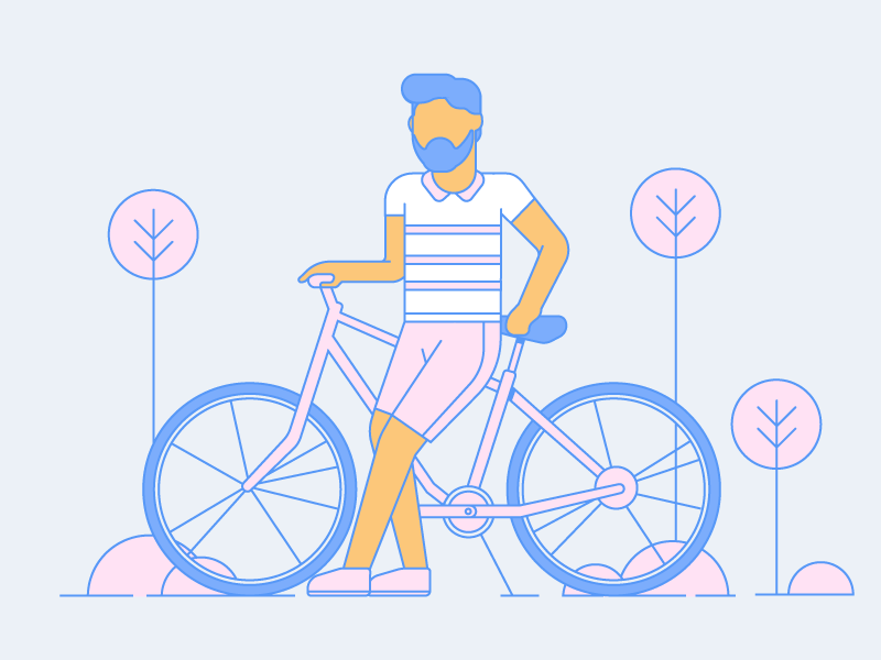 Chilling summer bicycle dribbble design artwork digital illustration