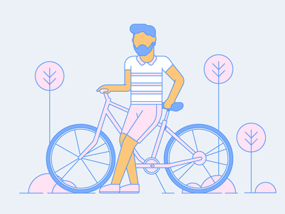 Chilling summer bicycle dribbble design artwork digital illustration