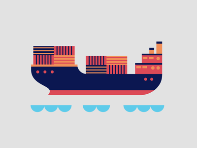 Cargo Ship boat ship dribbble design artwork digital illustration
