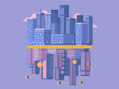 The Other Side of the Coin building cryptocurrency crypto city dribbble design artwork digital illustration