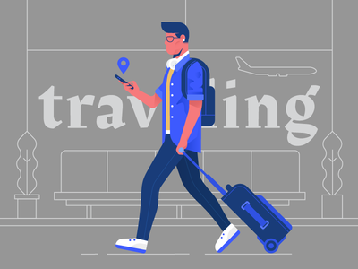 Traveling bag phone person plane airport travel dribbble design artwork digital illustration