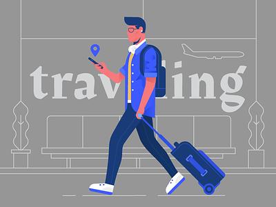 Traveling bag phone person plane airport travel dribbble design artwork digital illustration