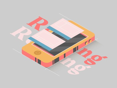 Phone 3d isometric type media social iphone dribbble design artwork digital illustration
